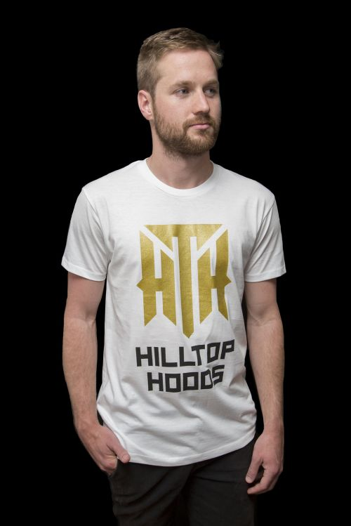 Gold Logo Tour White Tshirt by Hilltop Hoods