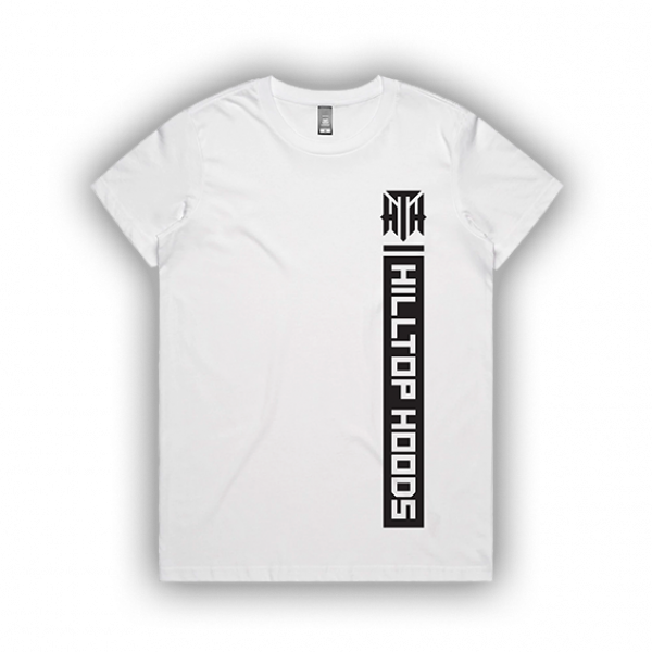 POCKET STRIP LADIES WHITE TEE